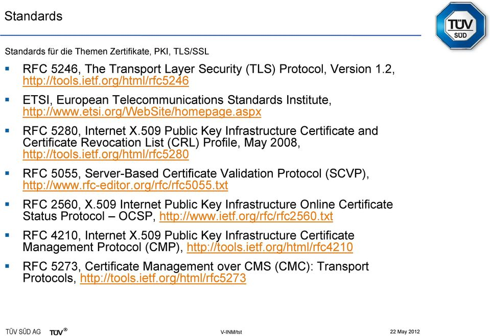 509 Public Key Infrastructure Certificate and Certificate Revocation List (CRL) Profile, May 2008, http://tools.ietf.