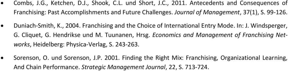 , 2004. Franchising and the Choice of International Entry Mode. In: J. Windsperger, G. Cliquet, G. Hendrikse und M. Tuunanen, Hrsg.