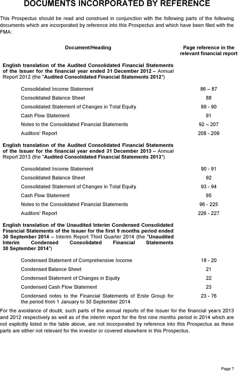 "for the financial year ended 31 December 2012 Annual Report 2012 (the ""Audited Consolidated Financial Statements 2012"") Consolidated Income Statement Consolidated Balance Sheet Consolidated Statement"