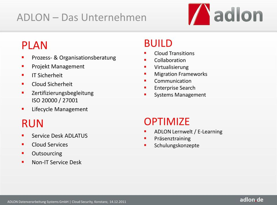 Service Desk BUILD Cloud Transitions Collaboration Virtualisierung Migration Frameworks Communication Enterprise Search Systems