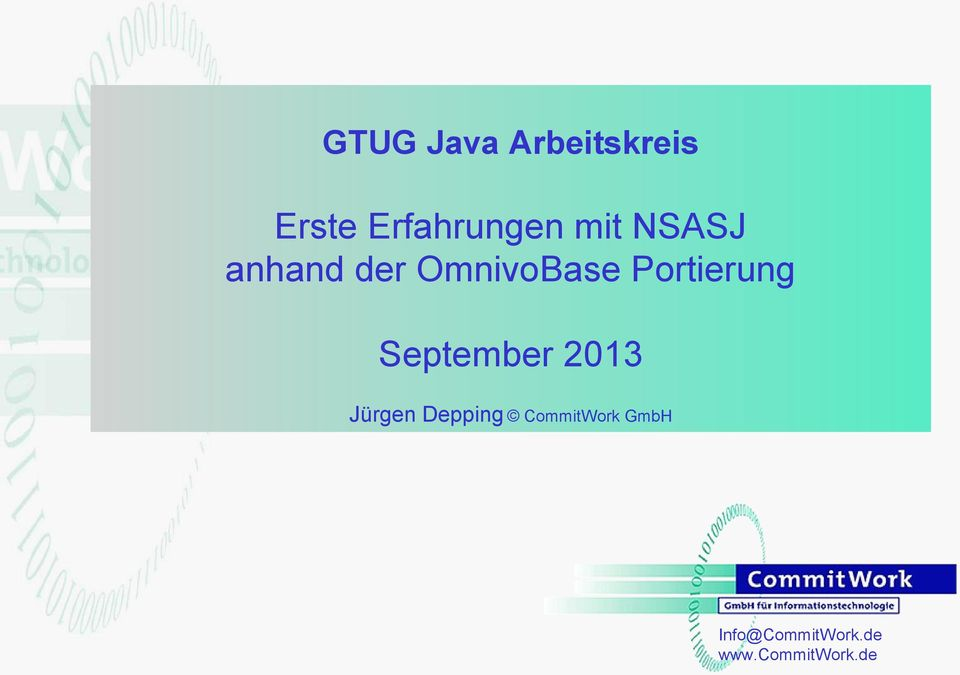 September 2013 Jürgen Depping CommitWork