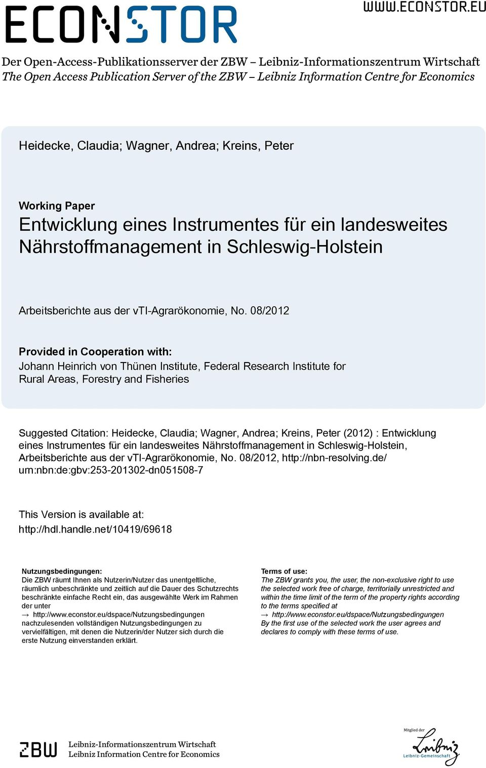 eu Der Open-Access-Publikationsserver der ZBW Leibniz-Informationszentrum Wirtschaft The Open Access Publication Server of the ZBW Leibniz Information Centre for Economics Heidecke, Claudia; Wagner,