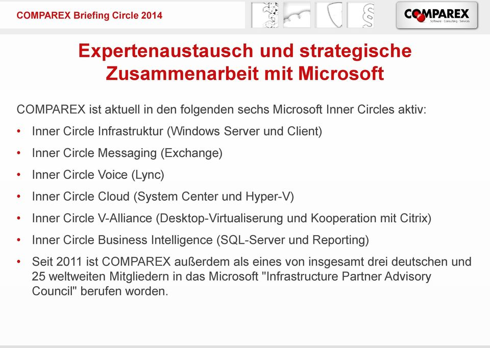 Center und Hyper-V) Inner Circle V-Alliance (Desktop-Virtualiserung und Kooperation mit Citrix) Inner Circle Business Intelligence (SQL-Server und Reporting)