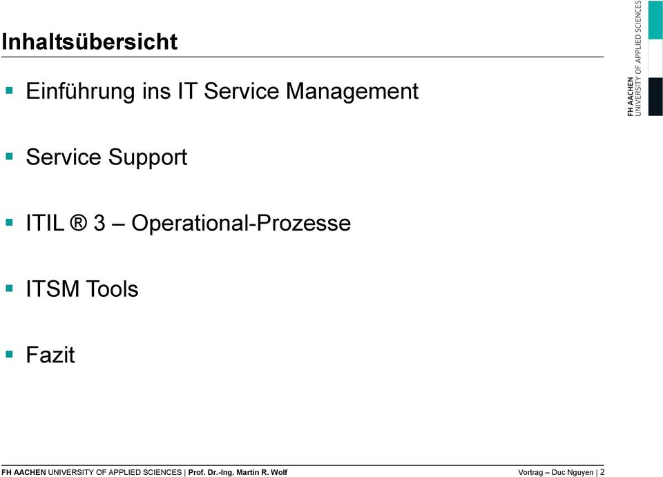 Operational-Prozesse ITSM Tools Fazit FH AACHEN