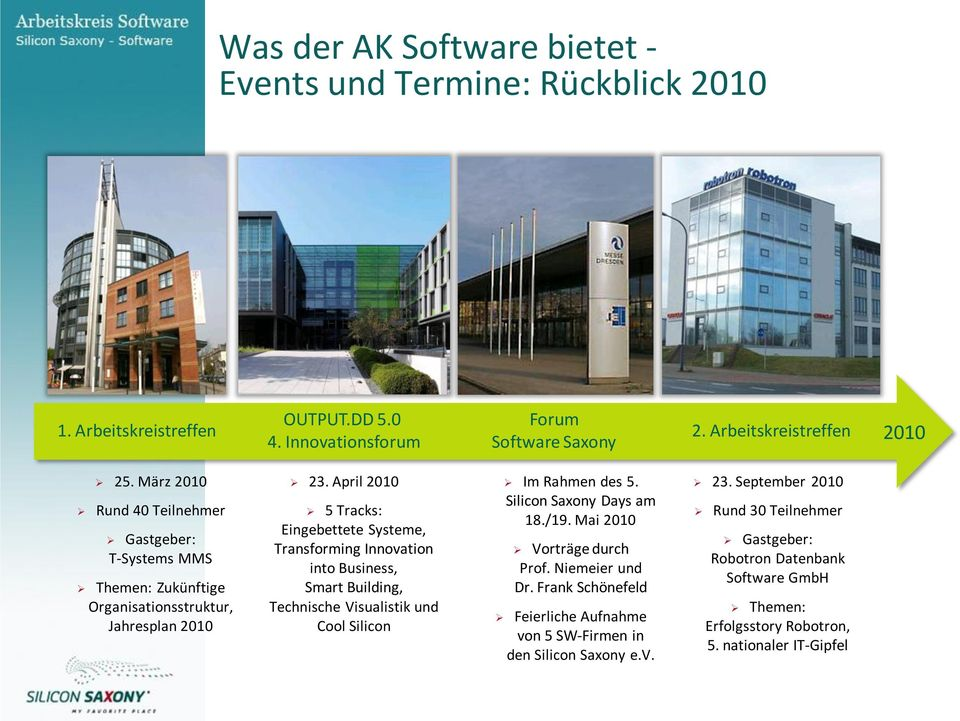 April 2010 5 Tracks: Eingebettete Systeme, Transforming Innovation into Business, Smart Building, Technische Visualistik und Cool Silicon Im Rahmen des 5.