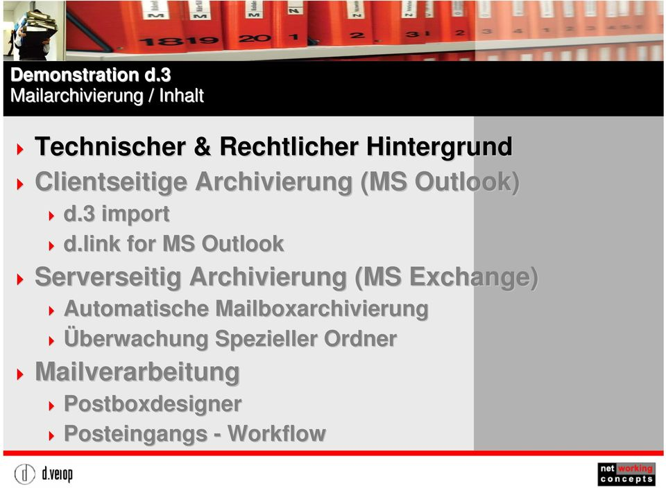 link for MS Outlook Titelmasterformat Serverseitig Archivierung (MS Exchange)