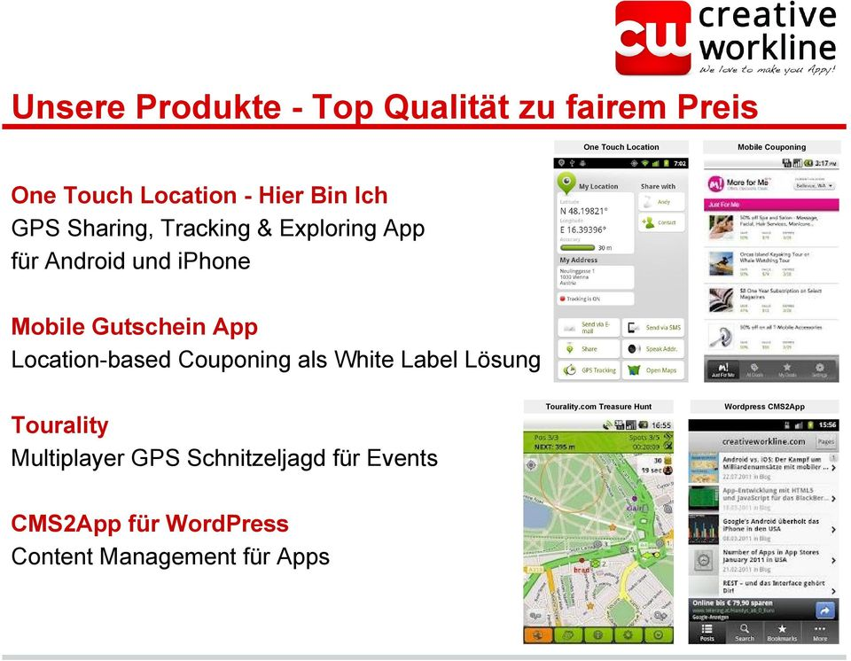 Gutschein App Location-based Couponing als White Label Lösung Tourality.