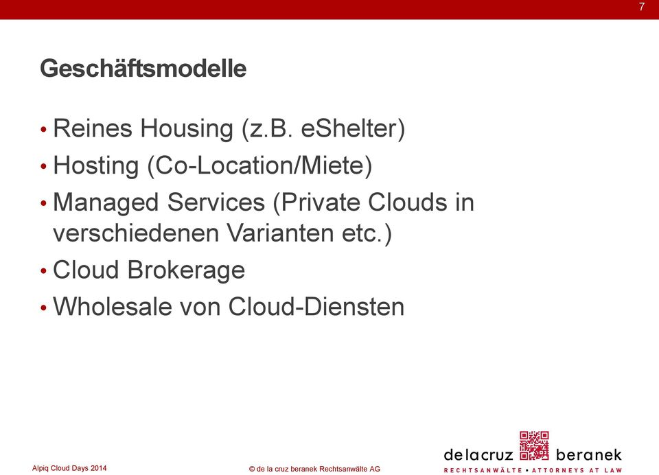 Services (Private Clouds in verschiedenen