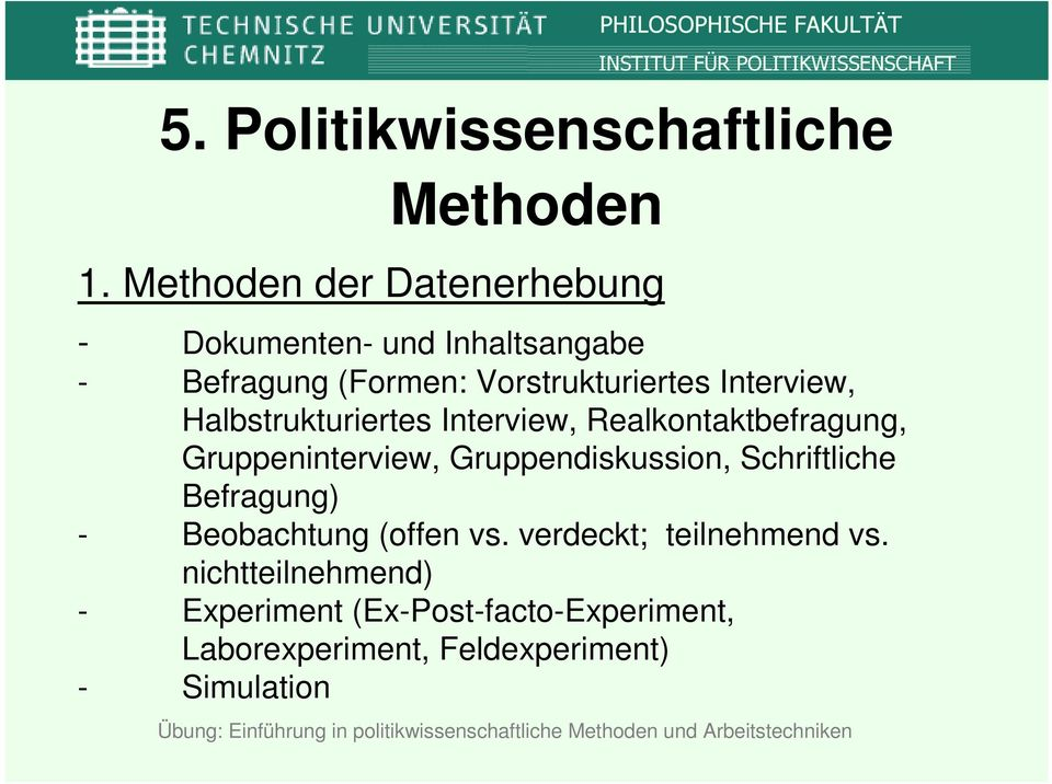 Interview, Halbstrukturiertes Interview, Realkontaktbefragung, Gruppeninterview, Gruppendiskussion,