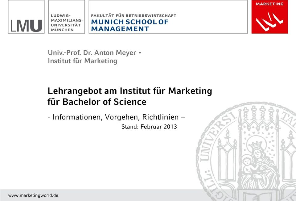 am Institut für Marketing für Bachelor of