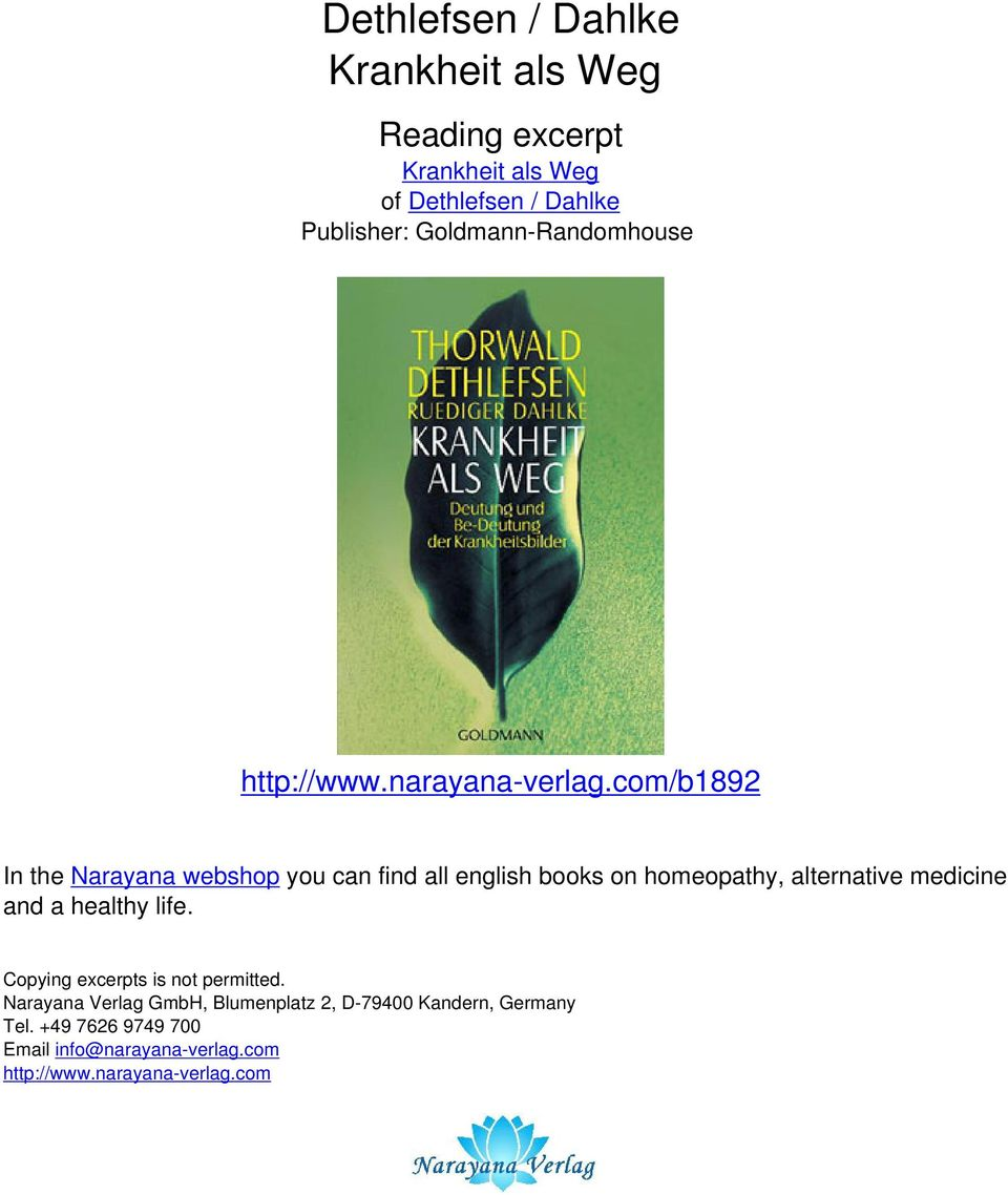 com/b1892 In the Narayana webshop you can find all english books on homeopathy, alternative medicine and a