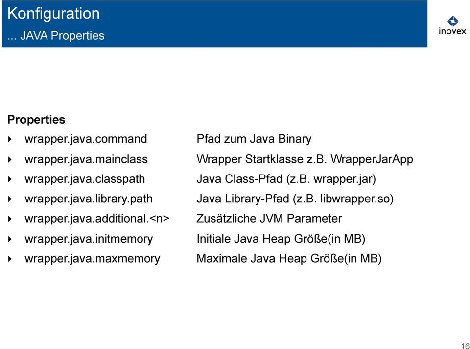 path Java Library-Pfad (z.b. libwrapper.so) wrapper.java.additional.<n> Zusätzliche JVM Parameter wrapper.