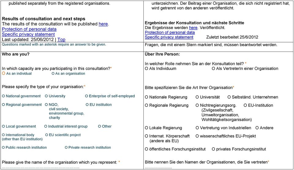 In which capacity are you participating in this consultation?* O As an individual O As an organisation unterzeichnen.
