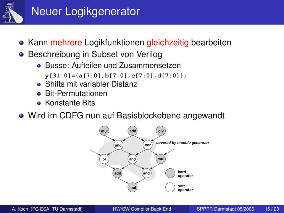 Konstante Bits Wird im CFG nun auf Basisblockebene angewandt mul add div and xor covered by module generator or and
