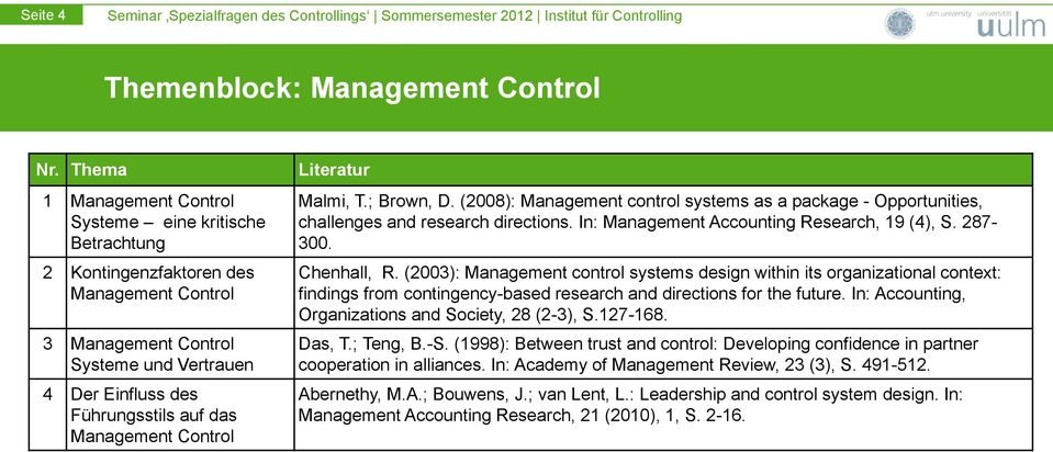 Management Control Literatur Malmi, T.; Brown, D. (2008): Management control systems as a package - Opportunities, challenges and research directions. In: Management Accounting Research, 19 (4), S.