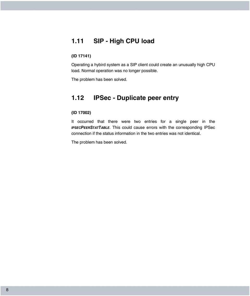 12 IPSec - Duplicate peer entry (ID 17002) It occurred that there were two entries for a single peer in