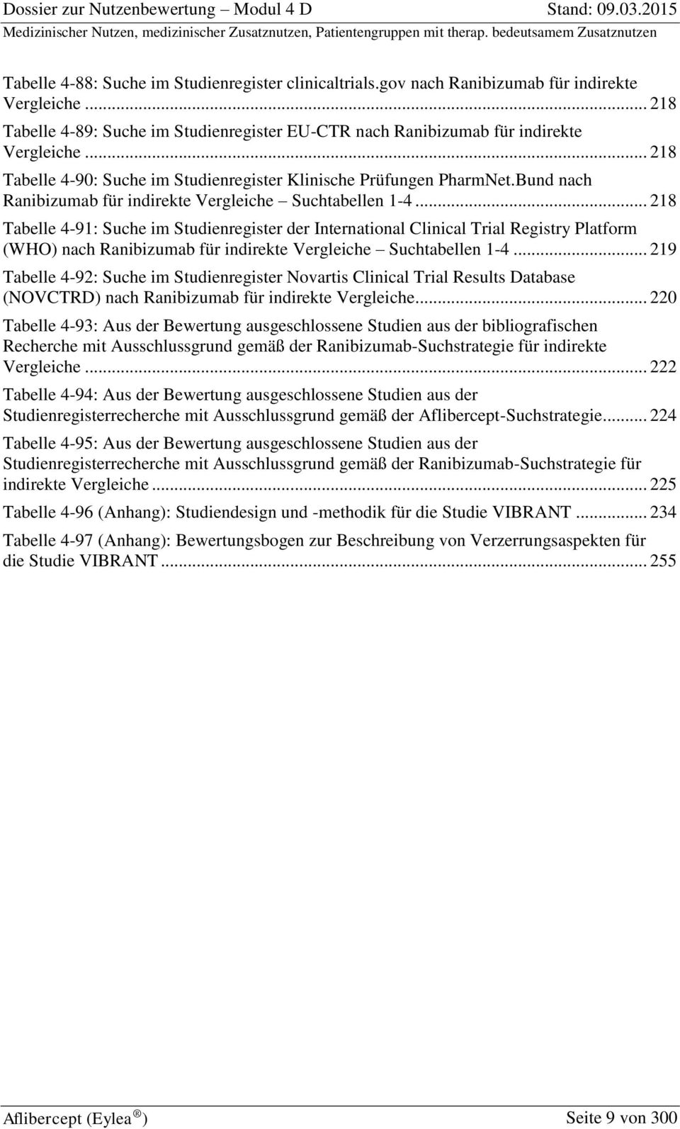 .. 218 Tabelle 4-91: Suche im Studienregister der International Clinical Trial Registry Platform (WHO) nach Ranibizumab für indirekte Vergleiche Suchtabellen 1-4.