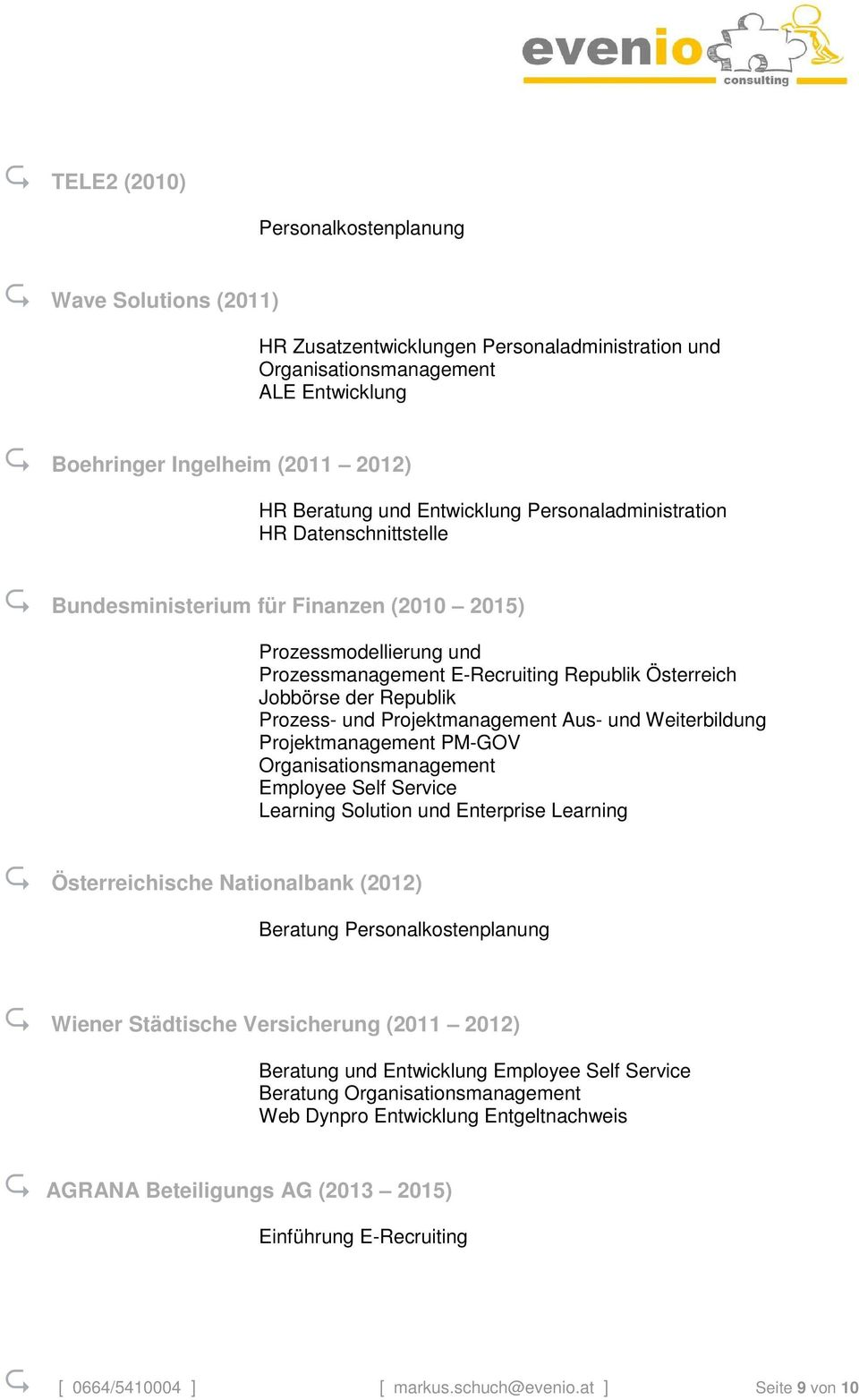 Projektmanagement Aus- und Weiterbildung Projektmanagement PM-GOV Employee Self Service Learning Solution und Enterprise Learning Österreichische Nationalbank (2012) Beratung Personalkostenplanung