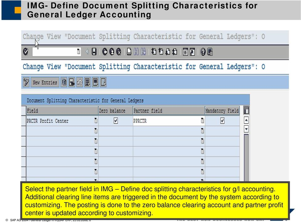 Additional clearing line items are triggered in the document by the system according to customizing.