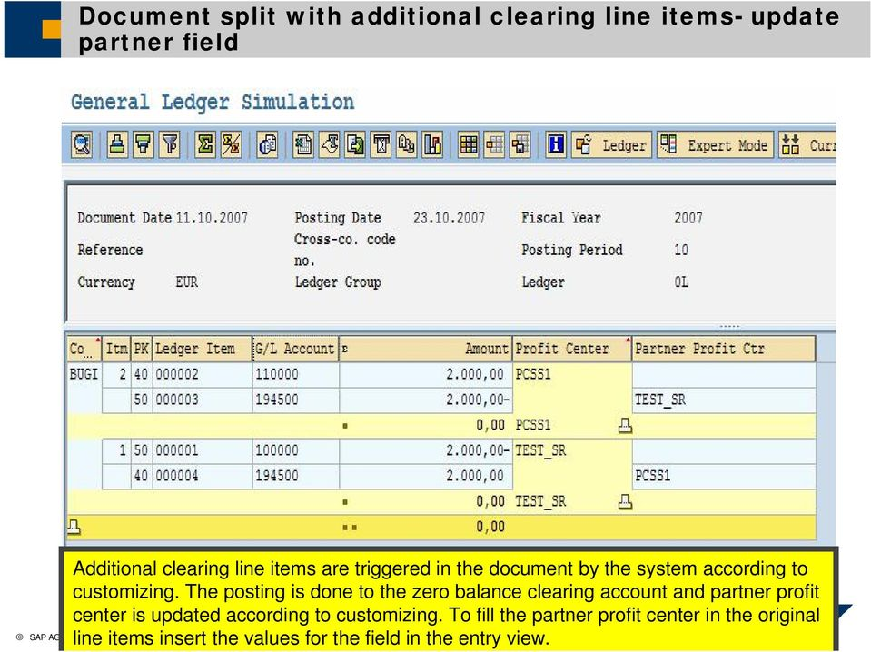 The posting is done to the zero balance clearing account and partner profit center is updated according to