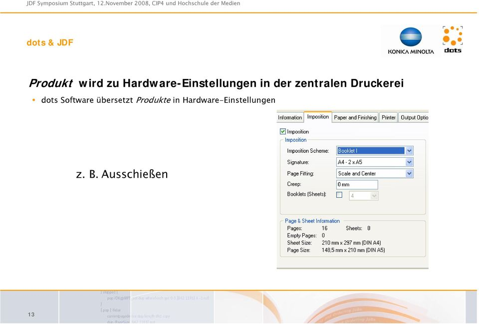 zentralen Druckerei dots Software
