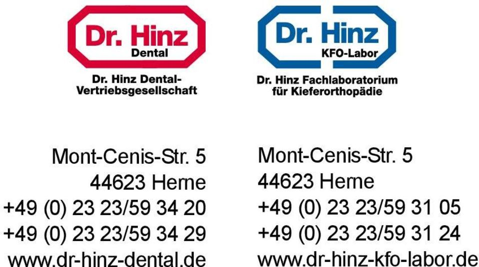 23/59 34 29 www.dr-hinz-dental.
