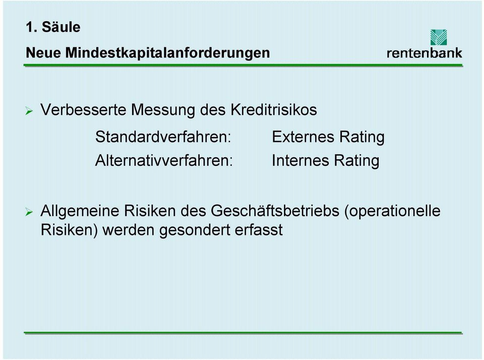 Alternativverfahren: Externes Rating Internes Rating!