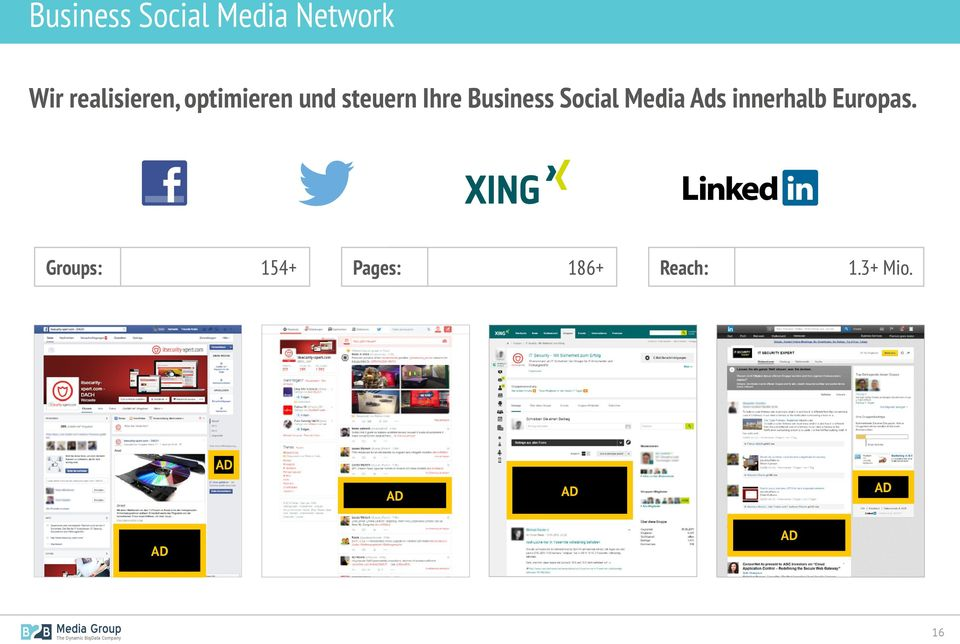 Business Social Media Ads innerhalb Europas.