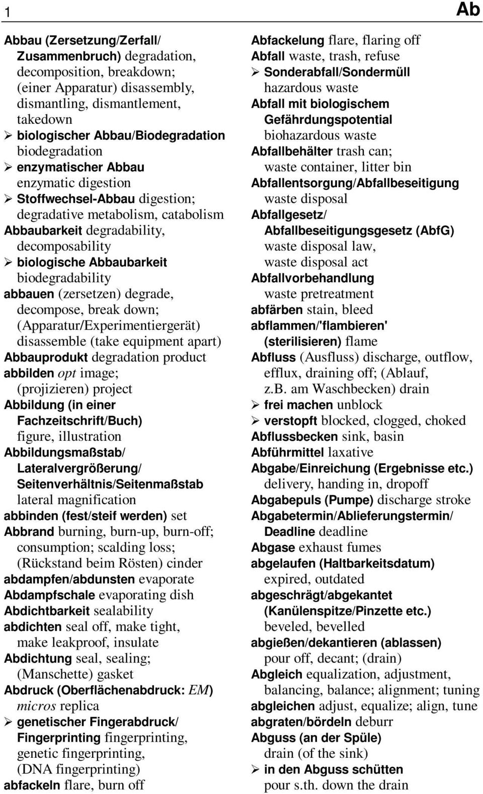 (zersetzen) degrade, decompose, break down; (Apparatur/Experimentiergerät) disassemble (take equipment apart) Abbauprodukt degradation product abbilden opt image; (projizieren) project Abbildung (in