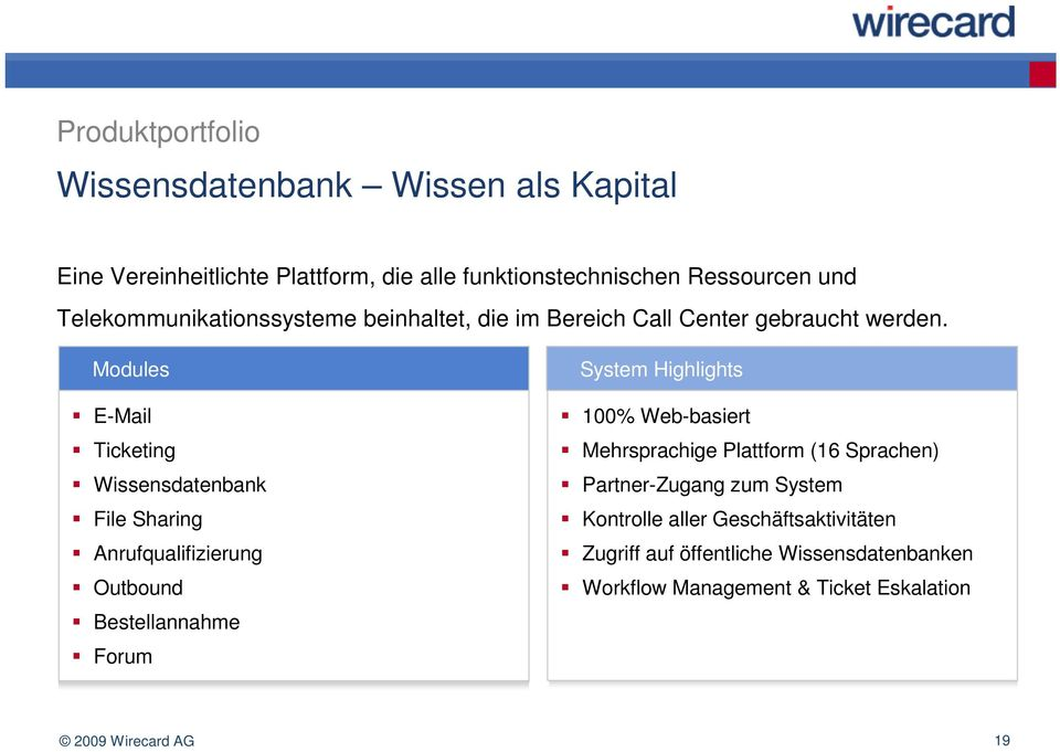 Modules E-Mail Ticketing Wissensdatenbank File Sharing Anrufqualifizierung Outbound Bestellannahme Forum System Highlights 100% Web-basiert