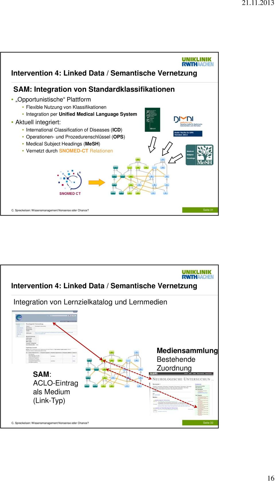 und Prozedurenschlüssel (OPS) Medical Subject Headings (MeSH) Vernetzt durch SNOMED-CT Relationen Seite 31 Intervention 4: Linked Data /