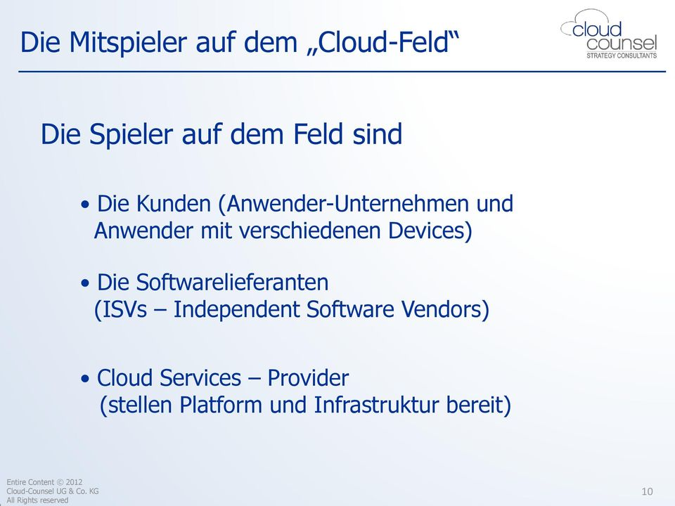 Devices) Die Softwarelieferanten (ISVs Independent Software