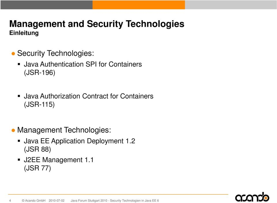 Authorization Contract for Containers (JSR-115) Management