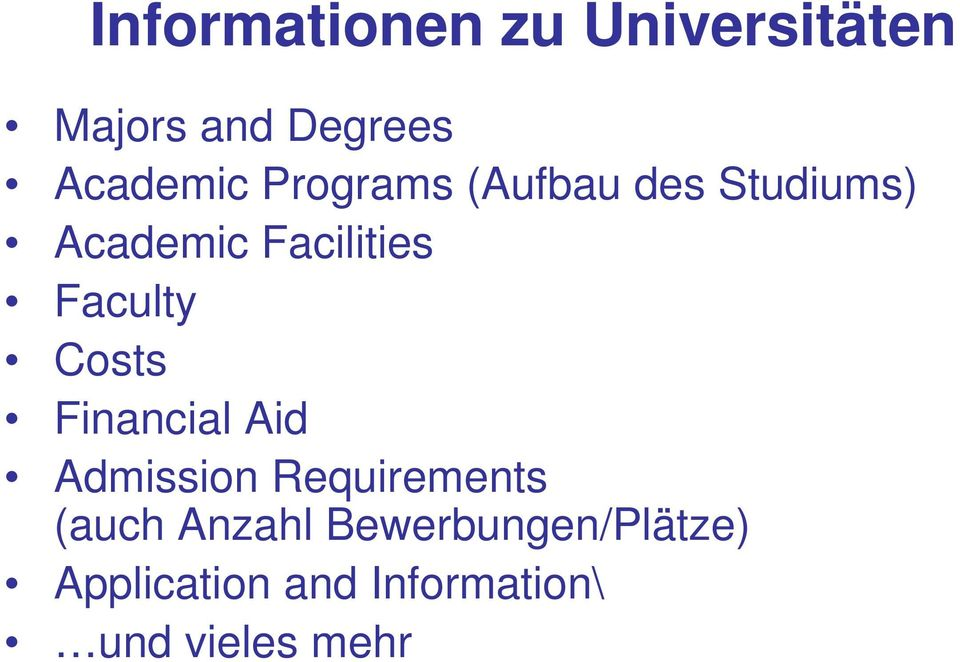 Costs Financial Aid Admission Requirements (auch Anzahl