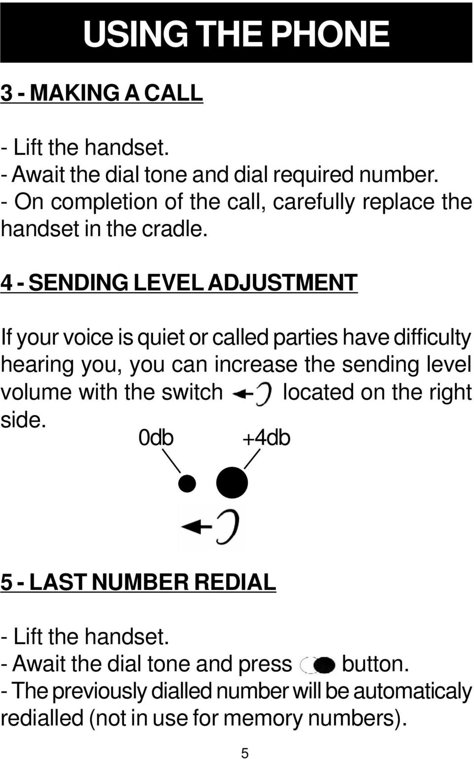 4 - SENDING LEVEL ADJUSTMENT If your voice is quiet or called parties have difficulty hearing you, you can increase the sending level
