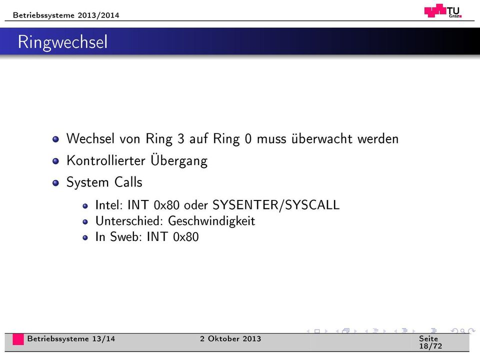 Calls Intel: INT 0x80 oder SYSENTER/SYSCALL