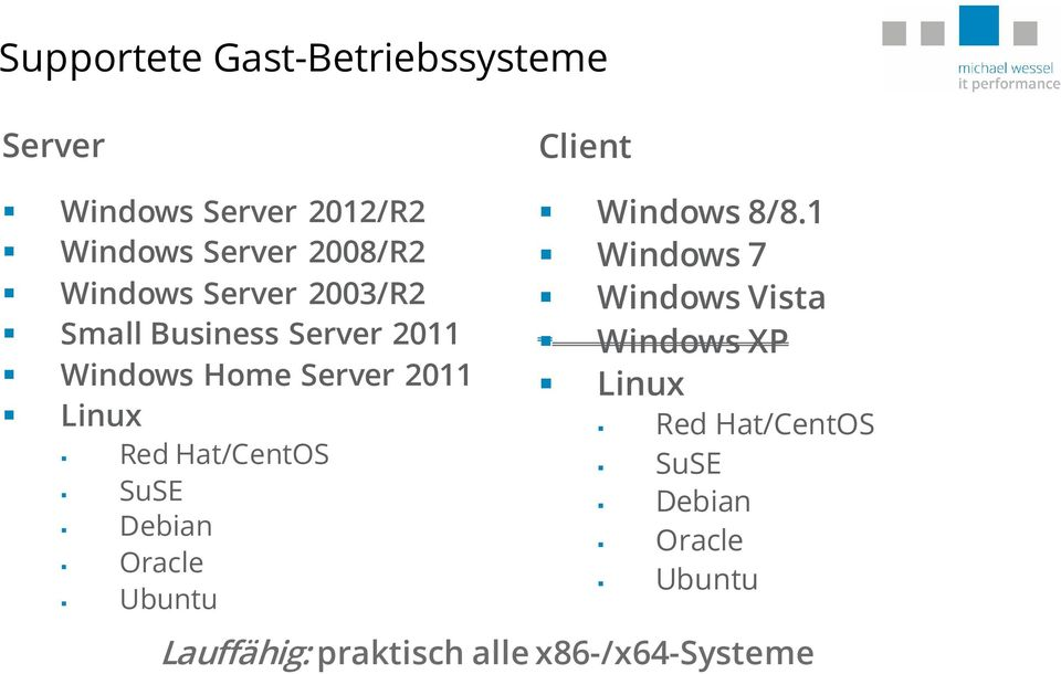 Hat/CentOS SuSE Debian Oracle Ubuntu Client Windows 8/8.
