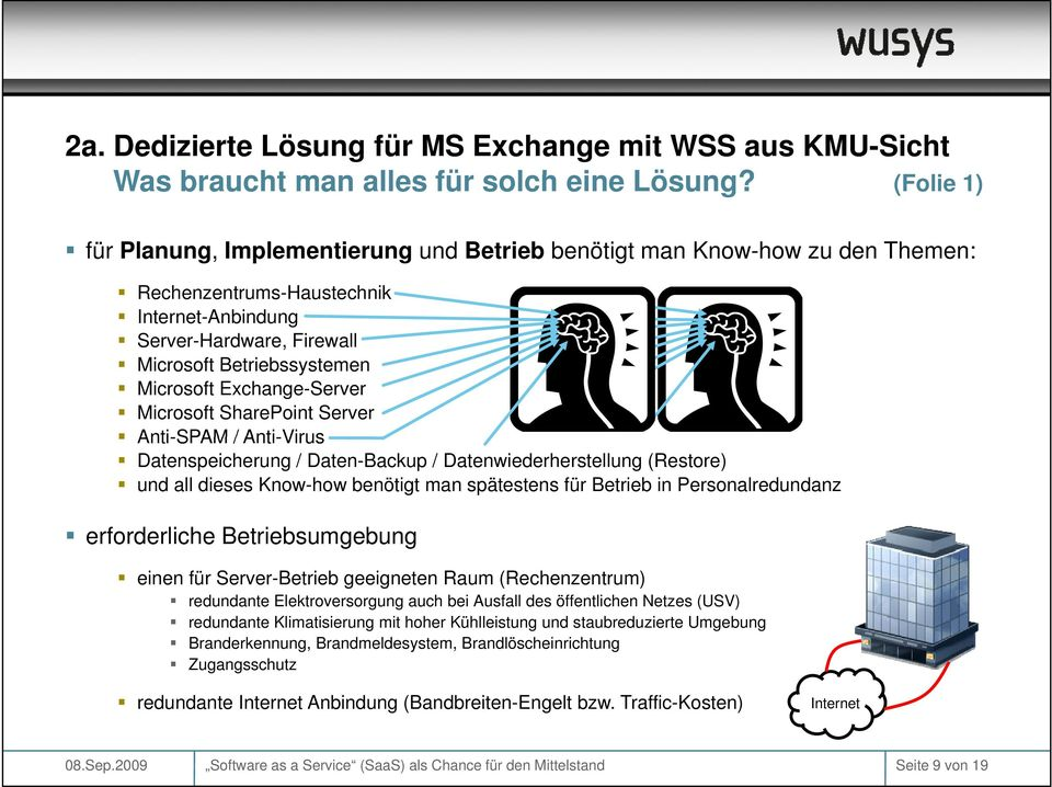 Exchange-Server Microsoft SharePoint Server Anti-SPAM / Anti-Virus Datenspeicherung / Daten-Backup / Datenwiederherstellung (Restore) und all dieses Know-how benötigt man spätestens für Betrieb in