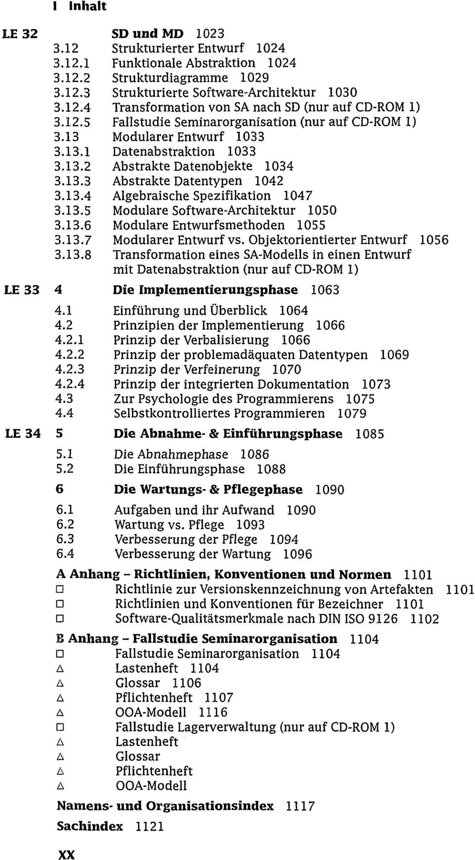 Seminarorganisation (nur auf CD-ROM 1) Modularer Entwurf 1033 Datenabstraktion 1033 Abstrakte Datenobjekte 1034 Abstrakte Datentypen 1042 Algebraische Spezifikation 1047 Modulare Software-Architektur