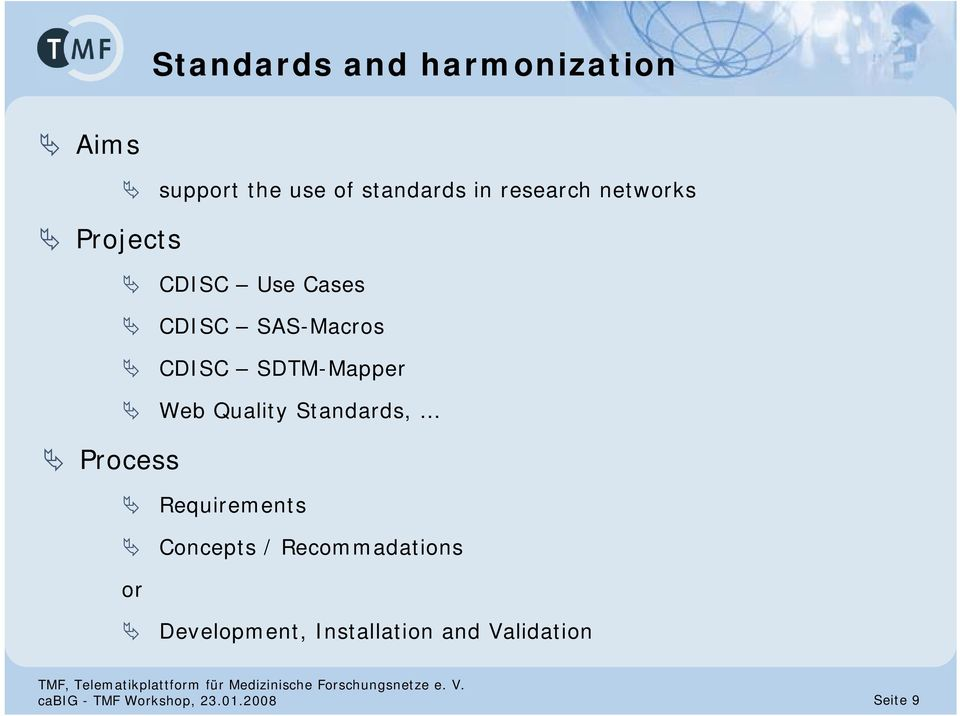 Quality Standards, Process Requirements Concepts / Recommadations or