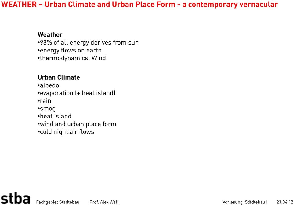 on earth thermodynamics: Wind Urban Climate albedo evaporation (+