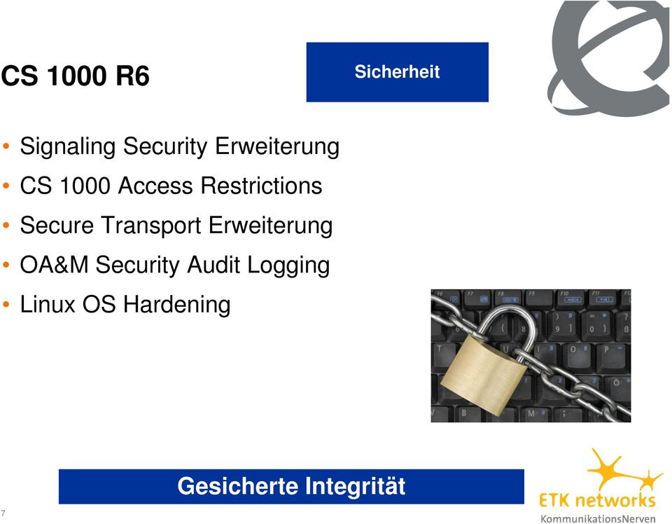 Secure Transport Erweiterung OA&M Security