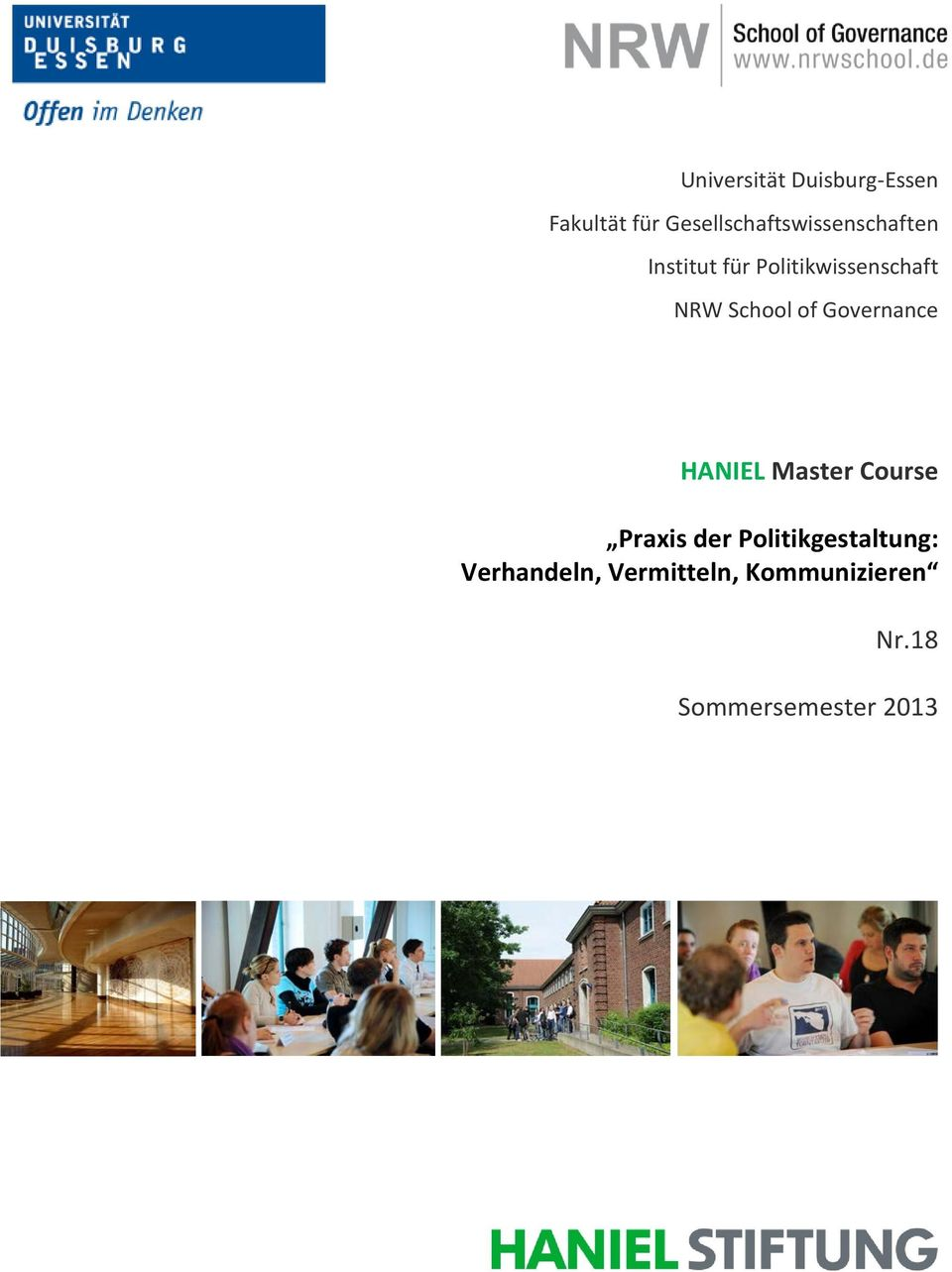 Politikwissenschaft NRW School of Governance HANIEL Master