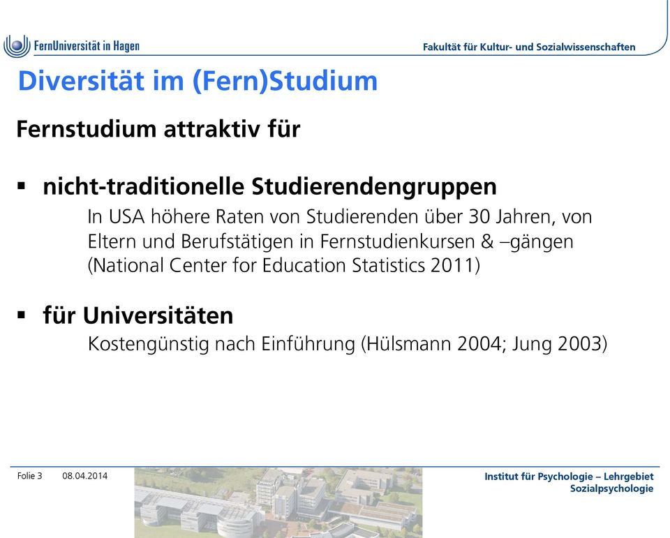 und Berufstätigen in Fernstudienkursen & gängen (National Center for Education