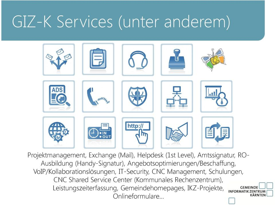 VoIP/Kollaborationslösungen, IT-Security, CNC Management, Schulungen, CNC Shared Service