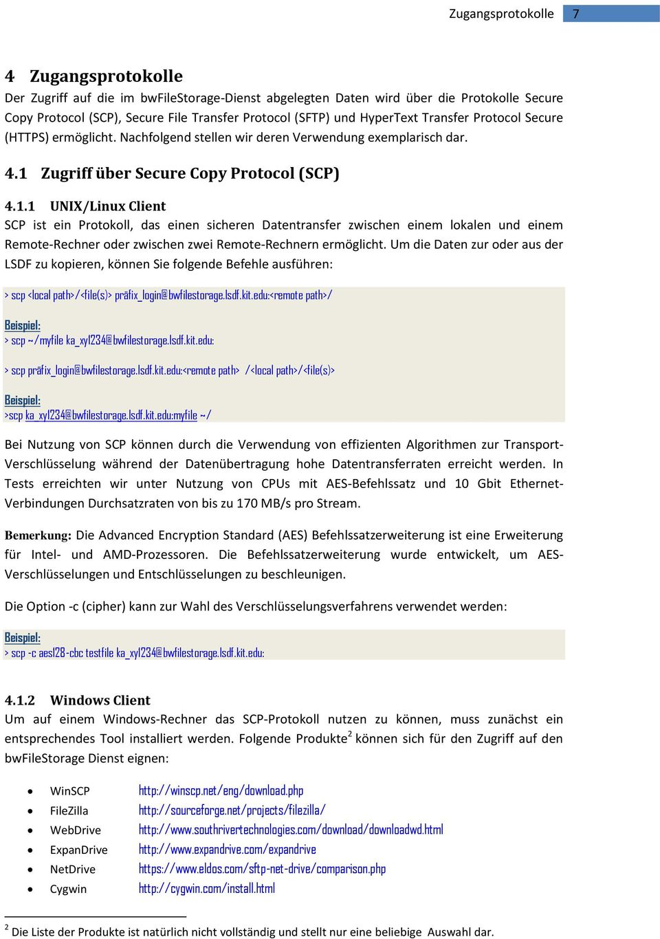Zugriff über Secure Copy Protocol (SCP) 4.1.