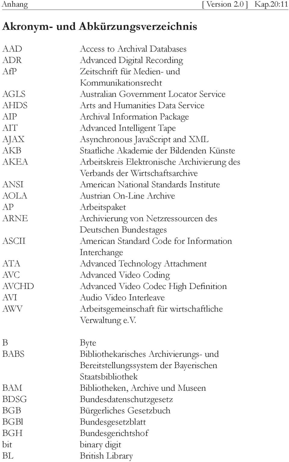 Advanced Digital Recording Zeitschrift für Medien- und Kommunikationsrecht Australian Government Locator Service Arts and Humanities Data Service Archival Information Package Advanced Intelligent