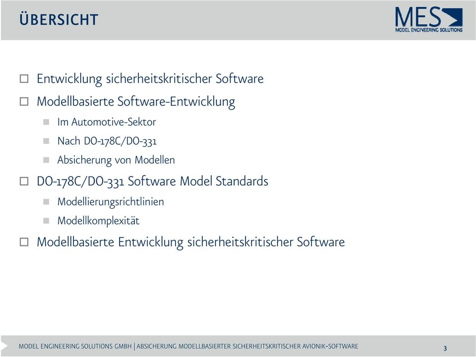 von Modellen DO-178C/DO-331 Software Model Standards