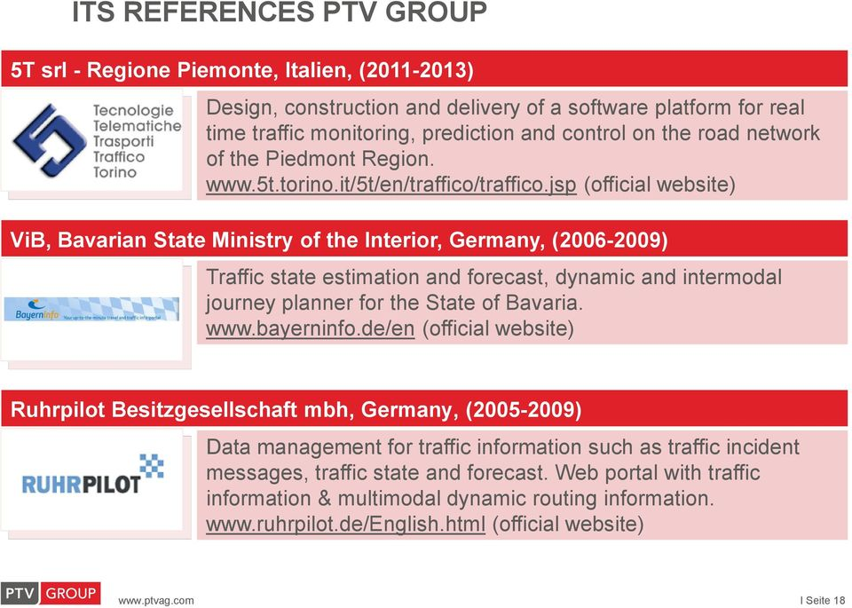 jsp (official website) ViB, Bavarian State Ministry of the Interior, Germany, (2006-2009) Traffic state estimation and forecast, dynamic and intermodal journey planner for the State of Bavaria. www.