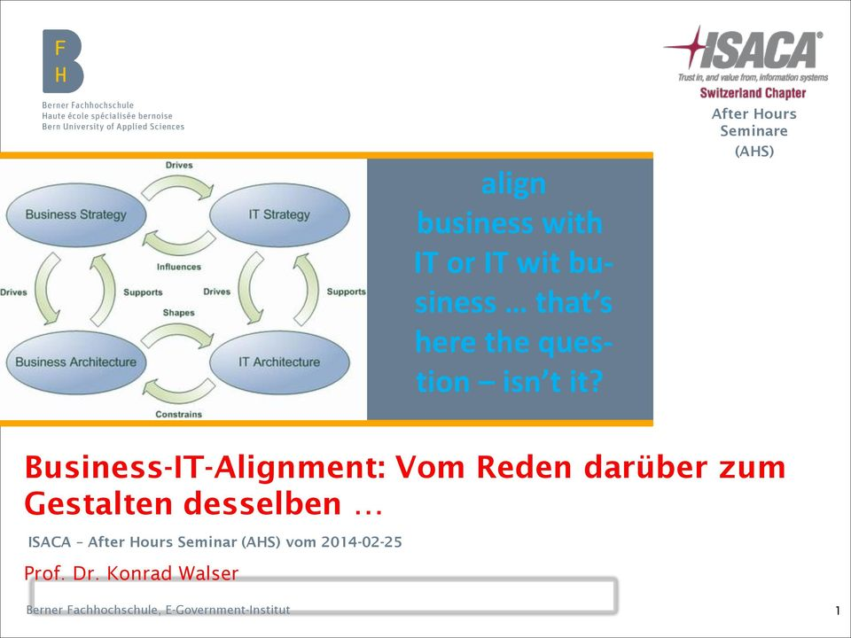 After Hours Seminare (AHS) Business-IT-Alignment: Vom Reden